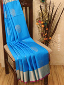 Soft silk saree cs blue and pink with zari woven buttas and rich zari border