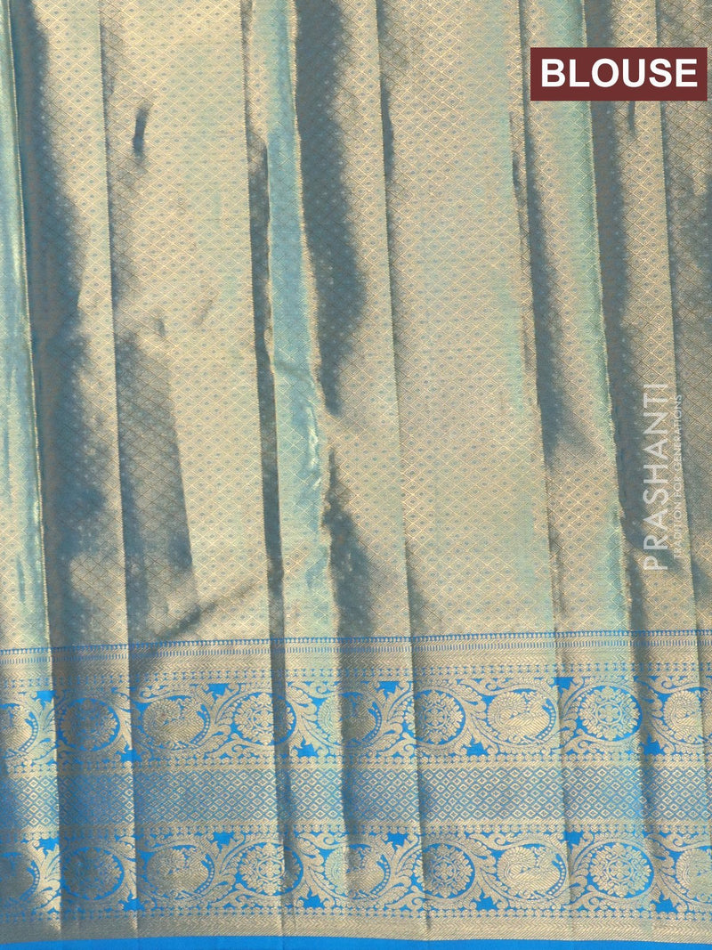 Pure Kanjivaram tissue silk saree yellow and cs blue with allover floral zari weaves and emboss with rich zari woven border