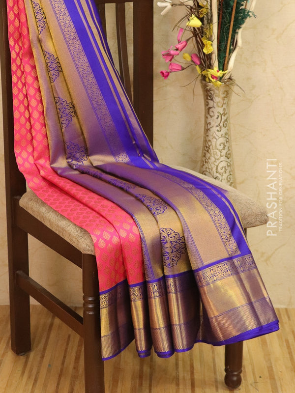 Pure Kanjivaram silk saree pink and blue with allover brocade pattern and rich zari border