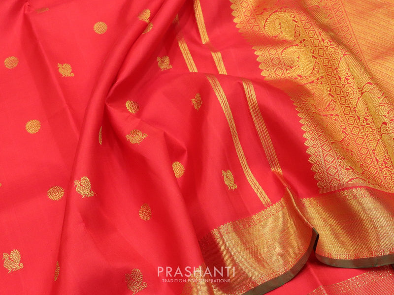 Pure Kanjivaram silk saree red and green with small zari woven buttas and rich border