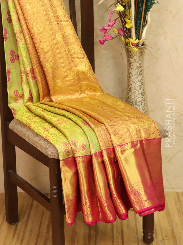 Pure Kanjivaram silk saree golden tissue and pink with allover thread and zari weaves and rich zari border