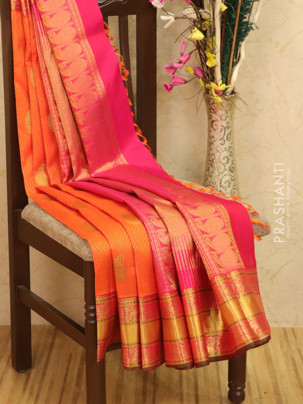 Pure Kanjivaram silk saree orange and dual shade of pink with allover self emboss and buttas with rich zari border