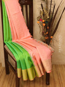 Soft silk saree mild pink and green with thread and zari woven buttas and border