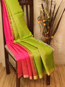 Soft silk saree pink and green with zari woven buttas and border