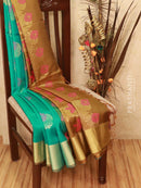 Soft silk saree blue and khaki brown with thread and zari woven buttas and border