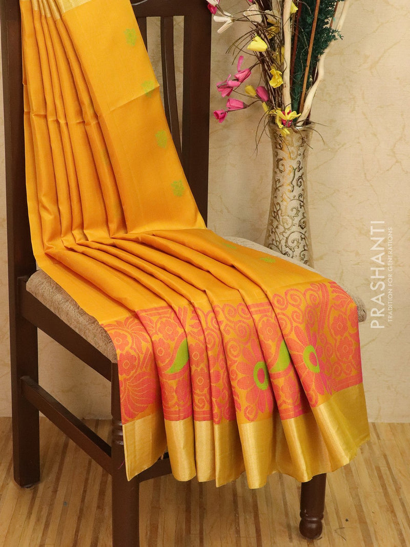 Soft silk saree yellow and pink with woven buttas and border