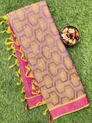 Coimbatore Cotton Saree violet and pink with allover thread emboss and woven border