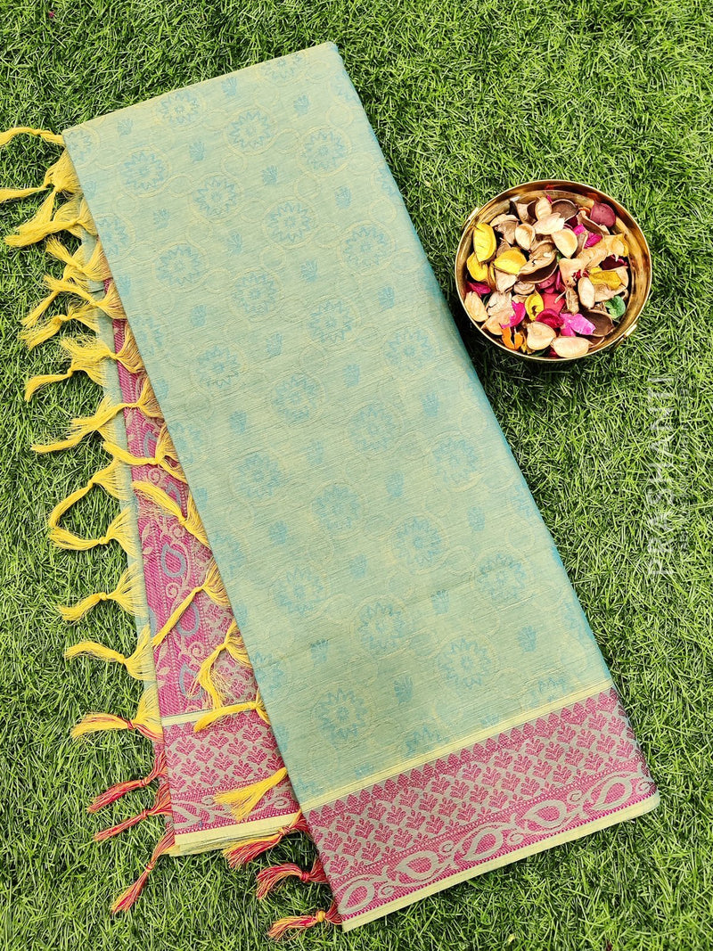 Coimbatore Cotton Saree dual shade of blue and pink with allover thread emboss and woven border