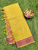 Coimbatore Cotton Saree green and magenta pink with allover thread emboss and woven border