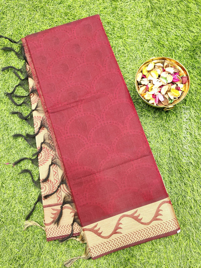 Coimbatore Cotton Saree maroon and beige with allover thread emboss and woven border
