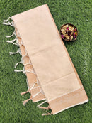 Coimbatore Cotton Saree beige with allover thread emboss and woven border