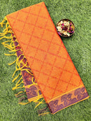 Coimbatore Cotton Saree orange and blue with allover thread emboss and woven border