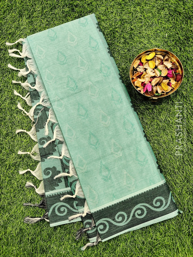 Coimbatore Cotton Saree teal and black with allover thread emboss and woven border