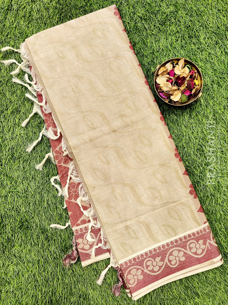 Coimbatore Cotton Saree pastal shade and maroon with allover thread emboss and woven border
