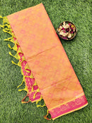 Coimbatore Cotton Saree dual shade of pink with allover thread emboss and woven border