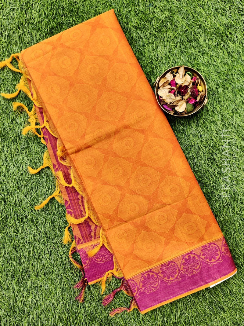 Coimbatore Cotton Saree mustard and magenta with allover thread emboss and woven border