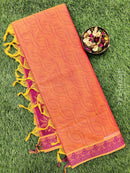 Coimbatore Cotton Saree dual shade of pink and magenta with allover thread emboss and woven border