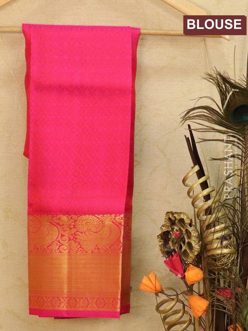 Pure Kanjivaram kids lehanga green and pink with allover self emboss and buttas with rich woven border for 3 to 5 years