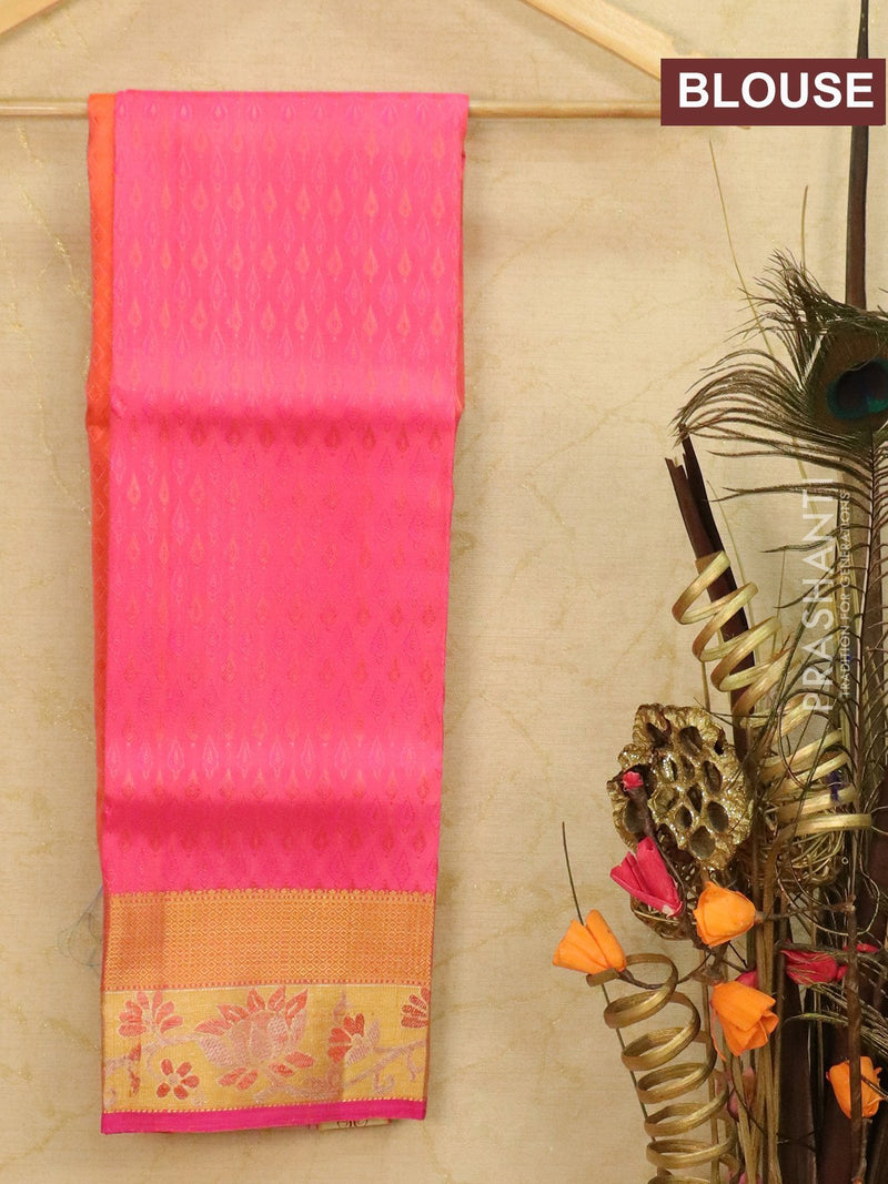 Pure Kanjivaram kids lehanga peach orange and pink with allover zari weaves and rich woven border for 3 to 5 years