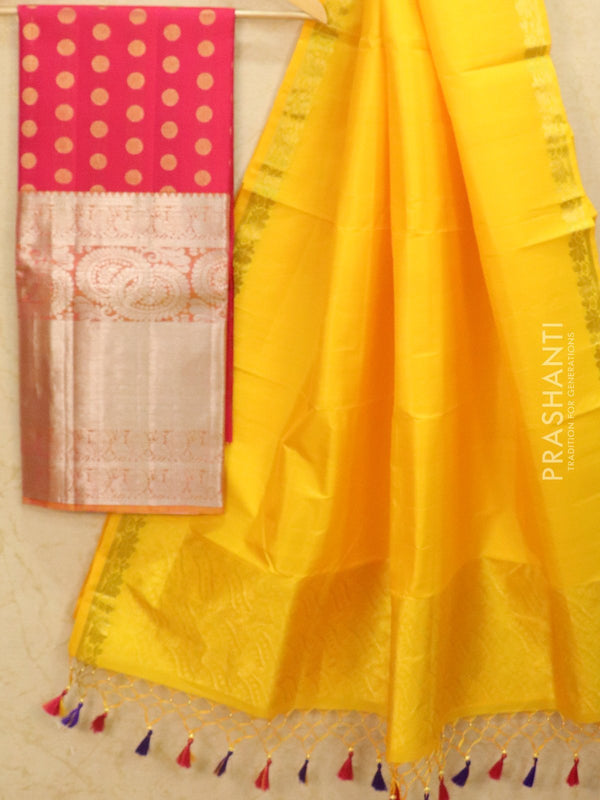 Pure Kanjivaram lehanga pink and yellow with allover zari buttas and rich zari woven border with duppata - free size