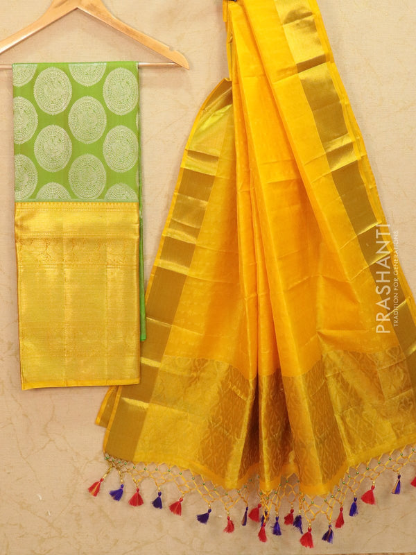 Pure Kanjivaram lehanga light green and yellow with allover zari buttas and rich zari woven border with duppata - free size