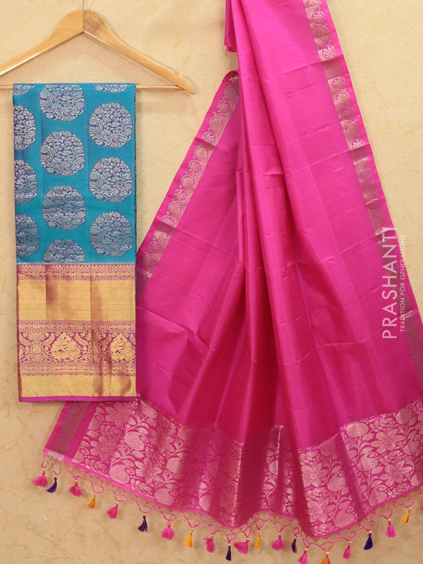 Pure Kanjivaram lehanga blue and magenta pink with thread and zari woven buttas and rich woven border with dupatta - free size