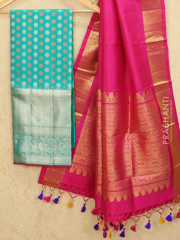 Pure Kanjivaram lehanga turquoise blue and pink with allover zari buttas and rich zari woven border with duppata - free size