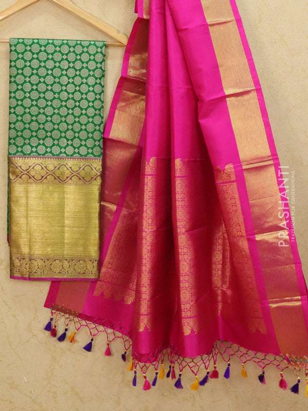 Pure Kanjivaram lehanga green and pink with allover zari buttas and rich zari woven border with duppata - free size