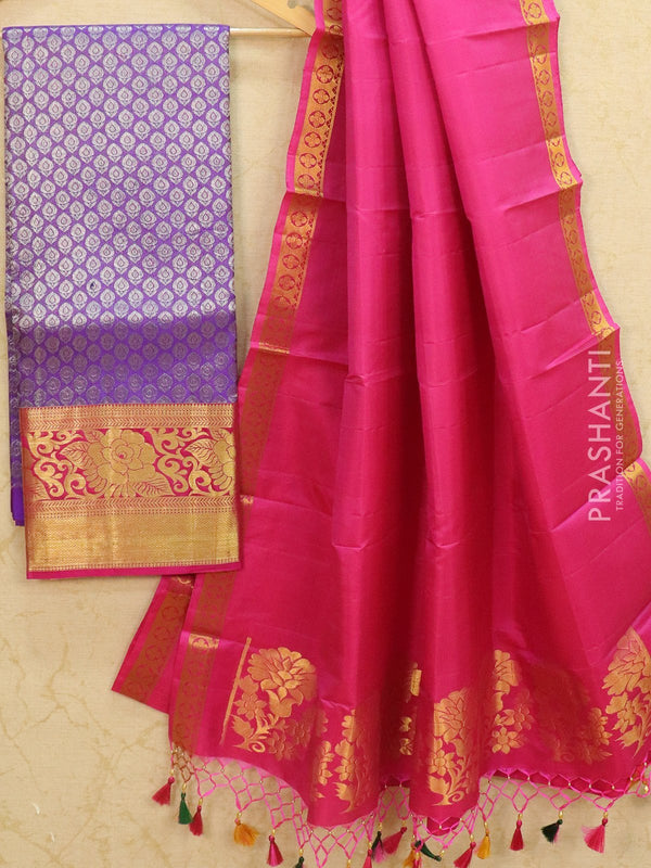 Pure Kanjivaram lehanga violet and pink tissue with allover zari buttas and rich zari woven border with duppata - free size