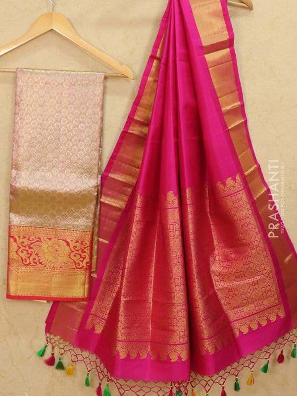 Pure Kanjivaram lehanga dual shade of pink tissue with allover zari buttas and rich zari woven border with duppata - free size