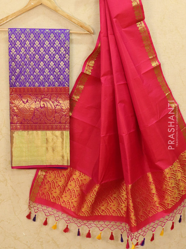Pure Kanjivaram lehanga blue and magenta pink with allover zari weaves and rich zari woven border with dupatta - free size