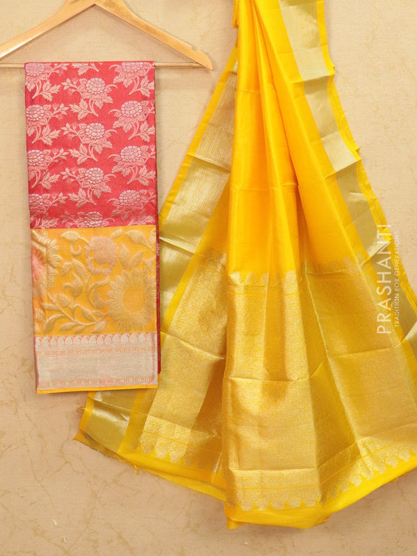 Pure Kanjivaram lehanga red and yellow with allover zari weaves and rich zari woven border with dupatta - free size