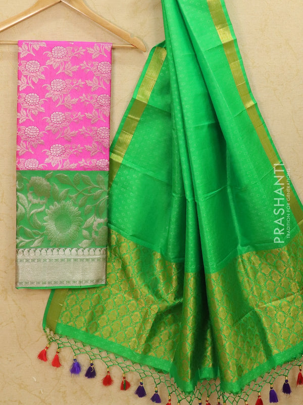 Pure Kanjivaram lehanga pink and green with allover zari weaves and rich zari woven border with dupatta - free size