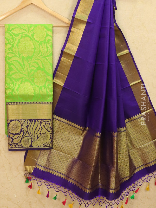 Pure Kanjivaram lehanga green and violet with allover zari weaves and rich zari woven border with dupatta - free size