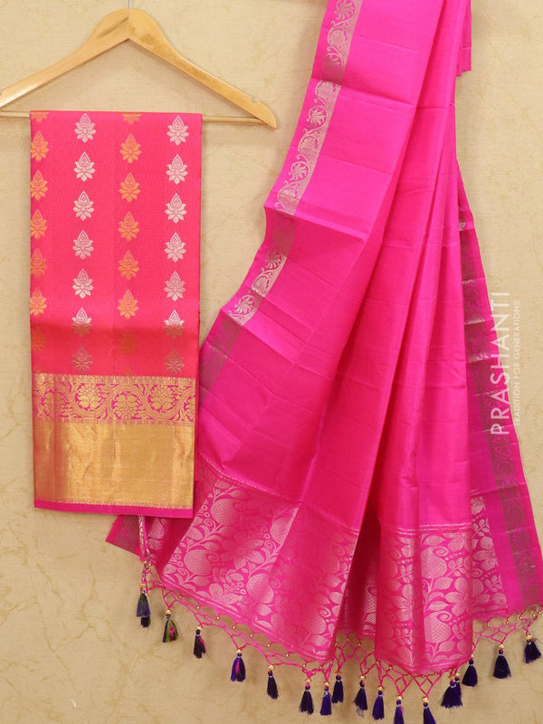 Pure Kanjivaram lehanga pink with allover zari buttas and rich zari woven border with duppata - free size