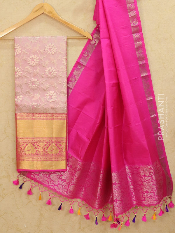 Pure Kanjivaram lehanga pastal pink and pink with allover floral zari weaves and rich zari woven border with dupatta - free size