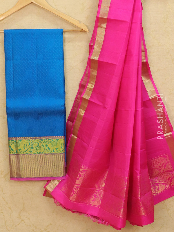 Pure Kanjivaram lehanga cs blue and pink with allover self emboss and rich woven border with dupatta - free size