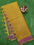 Coimbatore Cotton Saree mustard and purple with allover thread emboss and woven border