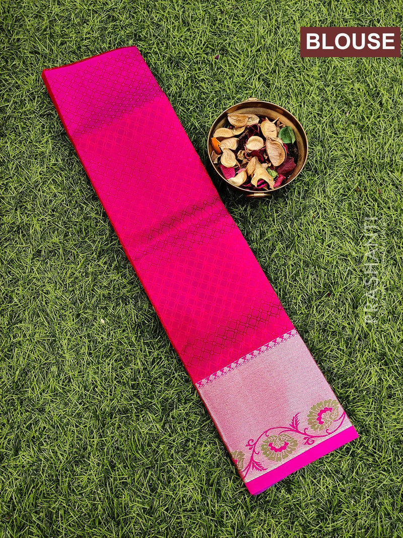 Pure Kanjivaram kids lehanga blue and pink with allover self emboss and buttas with woven border for 0 to 2 years