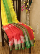 Pure linen saree red and green with batik prints and simple border