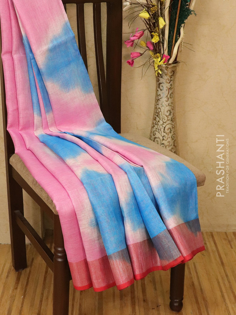 Pure linen saree pink and blue with batik prints and simple border