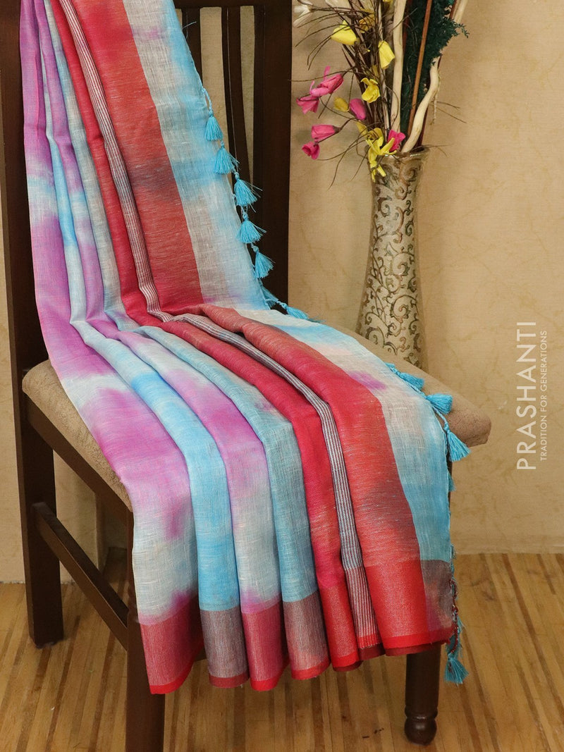 Pure linen saree light blue and pink with batik prints and simple border