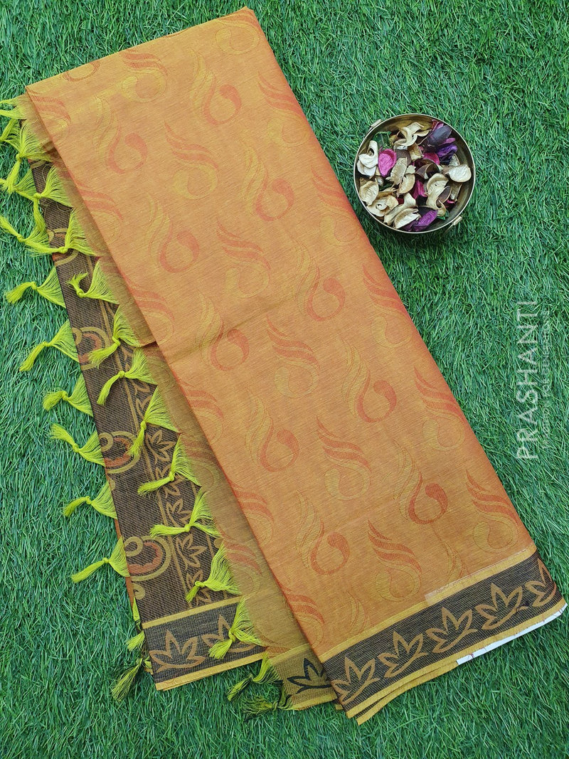 Coimbatore Cotton Saree dual shade of green and black with allover thread emboss and woven border