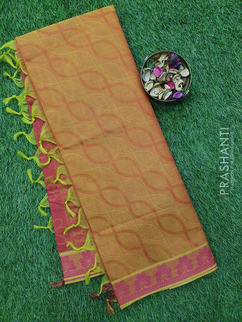 Coimbatore Cotton Saree yellow and pink with allover thread emboss and woven border