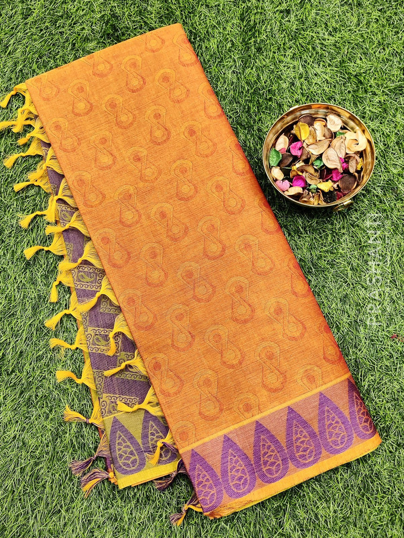 Coimbatore Cotton Saree dual shade of maroon and violet with allover thread emboss and woven border