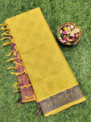 Coimbatore Cotton Saree green and violet with allover thread emboss and woven border