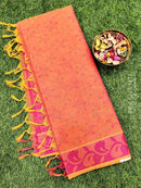 Coimbatore Cotton Saree dual shade of orange and pink with allover thread emboss and woven border