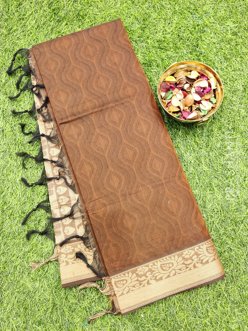 Coimbatore Cotton Saree brown and beige with allover thread emboss and woven border