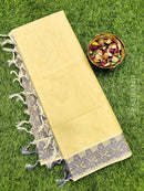 Coimbatore Cotton Saree beige and blue with allover thread emboss and woven border