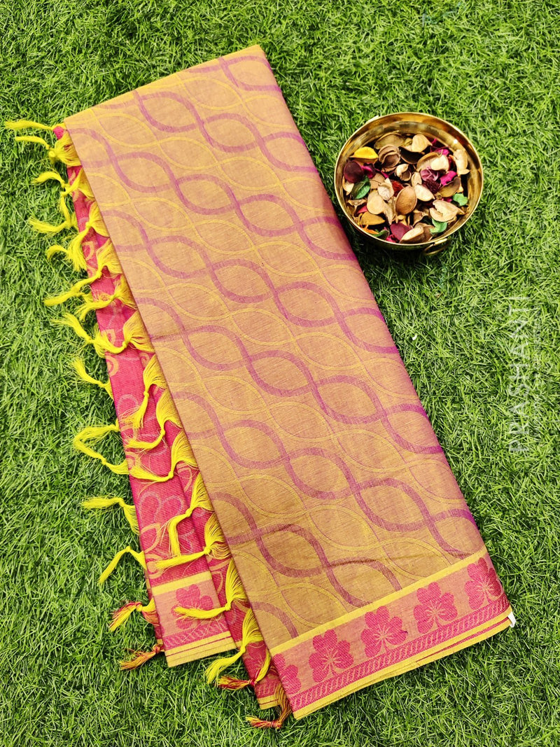 Coimbatore Cotton Saree dual shade of green and pink with allover thread emboss and woven border